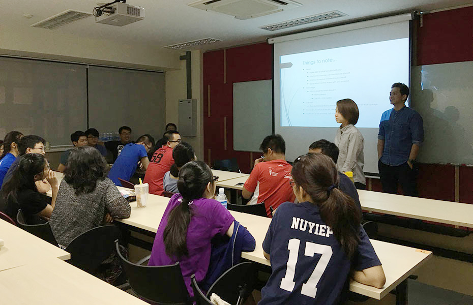a group of people attending a class